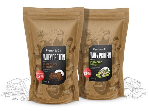 Protein&Co. CFM WHEY PROTEIN 80 2000 g ZVOL PŘÍCHUŤ 1: Chocolate brownie, ZVOL PŘÍCHUŤ 2: Chocolate brownie